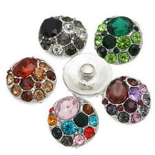 Wholesale Lots Snap Buttons Fit Bracelet Colorful Rhinestone DIY Mixed 20mm