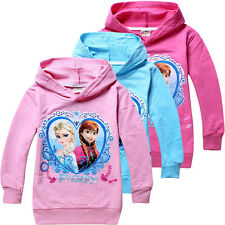 Frozen Elsa & Anna Princess Kids Girls Funny Hoodies Coat Clothing Age 2-8Years
