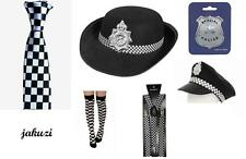 POLICE MAN WOMAN LADY FANCY DRESS UNIFORM OUTFIT COPPER BLACK AND WHITE PIG FUZZ