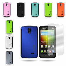 For LG Lucid 3 - Tough Dual Layer Hybrid Phone Cover Case and Screen Protector