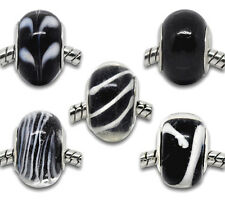 Wholesale Lots Mixed Black Glass Lampwork Beads. Fits Charm Bracelet 14x10mm