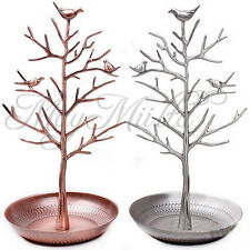 Retro Bird Tree Jewelry Earrings Ring Stand Holder Show Rack Necklace Display W