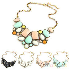 Charmful Womens Resin Bubble Pendant Collar Chain Statement Necklace Multicolor