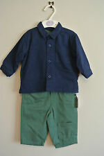 Baby Boys Navy / Green  3 Piece Set Outfit Shirt - Trousers - T-shirt  new
