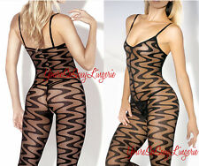 Plus Size SHEER Body Stocking ZIG ZAG WAVES Crotchless Sexy QUEEN SIZE Lingerie