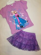 BRAND NEW GIRLS  FROZEN ELSA ANNA PURPLE TOP & PURPLE SEQUIN SKIRT - SIZE 2-6