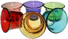 GLASS VOTIVE CANDLE HOLDERS - SET OF 6 ASSORTED COLOURS - TEALIGHT- NIGHTLIGHT