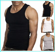 MENS 100% COTTON FITTED RIBBED VESTS SLEEVELESS GYM TRAINING SUMMER TANK TOP