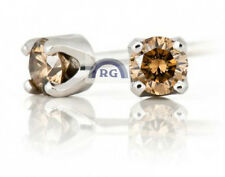VVS REAL Round Natural FANCY COGNAC DIAMOND SOLITAIRE EARRINGS STUDS 14K GOLD