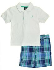 Nautica Toddler Boys S/S White Polo 2pc Plaid Short Set Size 2T 3T 4T $48