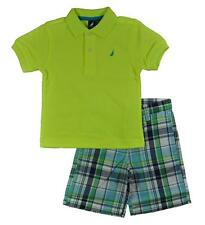 Nautica Toddler Boys S/S Neon Yellow Polo 2pc Plaid Short Set Size 2T 3T 4T $48