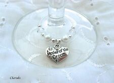 1 X PERSONALISED SILVER AND WHITE RHINESTONE HEART WINE GLASS CHARM WEDDING No1