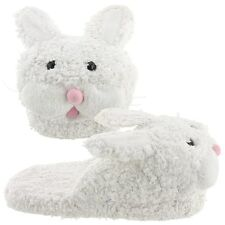 New Bunny Slippers for Women White Pink Nose Fuzzy Furry Soft Novelty Adult NWT