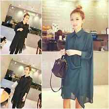 Maternity Womens Lapel Long Top Dress Ladies Sheer Cocktail  Button Shirt Dress