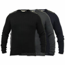 Mens Jumpers Dissident Top Sweater Knit Ribbed Military Quilted PU Patch Winter