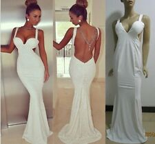 White backless prom dress celeb formal evening gown party wedding mermaid dress