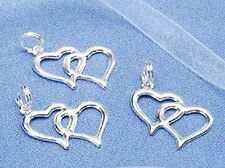 40/60/80/100/200 Double Heart Charms - Wedding & Bridal Favors - Embellishments