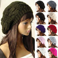 Women Lady Winter Warm Knitted Crochet Slouch Baggy Beret Beanie Hat Cap 10