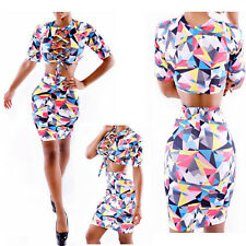 Women 2Pcs Crop Top Midi Skirt Set Bodycon Party Multi-colored Sexy Pencil Dress
