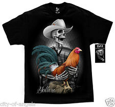 Gallero Cock Fighting Gallo Rooster Skull Ranchero DGA David Gonzales T Shirt