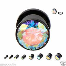 Plugs Black PVD Coated Steel Screw Fit With AB Gem Center Pair