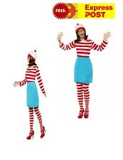 New Licensed Where's Wally Costume Adult Fancy Dress Where's Wenda