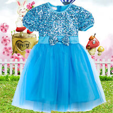 Baby Girls Kids Sequins Flower Dresses Outfit Clothes Frozen Elsa Costume Sz1-6Y