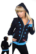 Living Dead Souls The Deep Black Blue Buttons Tattoo Womens Hoodie Hooded Top