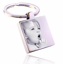 Personalised Square Stainless Steel Keyring Photo Engraved FREE P&P Unique Gift