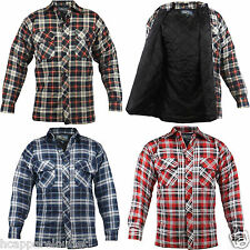 Mens Casual Lumberjack Padded Quilted Checked Warm Winter Work Shirt
