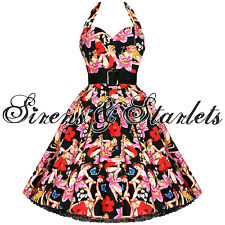 Hell Bunny Hawaii Floral 50S 60S Vtg Swing Prom Dress