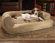 Overstuffed Luxury Dog Sofa Bed Couch Microseude Pet House Crate Puppy SM / MD