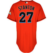 Majestic Ath Miami Marlins Giancarlo Stanton Auth Alt Cool Base Firebrick Jersey