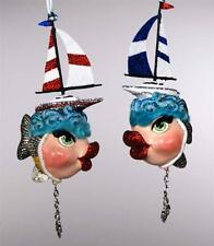 Katherine's Collection Sailing Kissing Fish Ornament 28-29640 (Red or Blue Sail)