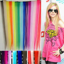 "New Wholesale 1pcs 24"" Long Solid Colorful Clip On In Hair Extension Hightlight"