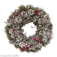 Ascalon Cone and Berry Christmas Wreath / Garland -  Sparkle Finish - 34cm