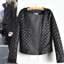 Celebrity Fashion Women Leather quilting stitching Jacket Slim Woolen down Coat