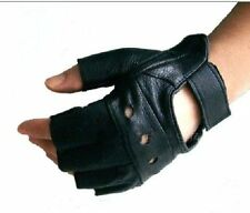 REAL LEATHER UNISEX MENS LADIES FINGERLESS DRIVING BIKE CYCLING GLOVE SPORT GYM