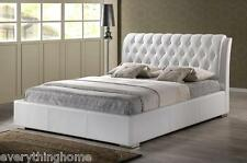MODERN WHITE FAUX LEATHER QUEEN OR KING SIZE PLATFORM BED FRAME TUFTED HEADBOARD