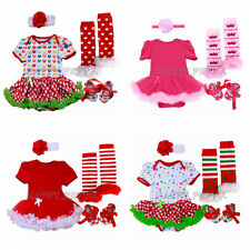 Newborn Infant Baby Girl 4pcs Christmas Party Romper Dress Sets Outfits NB-12M