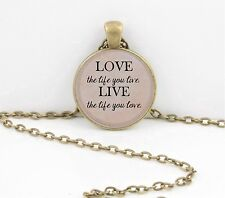 "Bob Marley, ""Love the Life you live..."" Lyrics Gift Pendant Necklace"