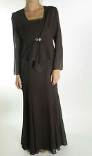 NWT Ursula of Switzerland Brown 2 pc Crepe Chiffon Dress Cardigan Formal Outfit