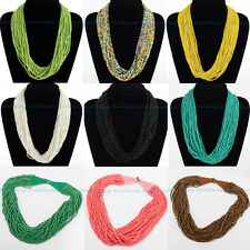 Fashion Mix Color Strand Handmade Multilayer Seed Beads Pendant Necklace Jewelry