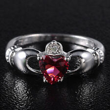 Size 6-9 Jewelry Claddagh Lady's 10KT White Gold Filled Red CZ Wedding Ring