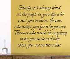 Family isn't always blood vinyl wall decal quote home decoration sticker