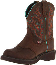 Ladies barn wood brown leather western cowboy boots by Justin boots Gypsy L9607