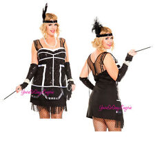 Plus Size Great Gatsby FLAPPER COSTUME Sexy ROARING 20's Curvy WITH Accessories!