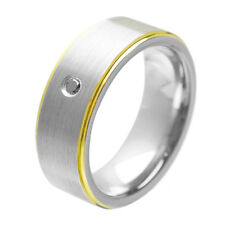 Two Tone Tungsten Ring with Black  Diamond, Pesonalized Tungsten Band,