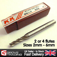 End Mill Drill HSS Bits. Sizes 2mm to 6mm. 2 or 4 flutes