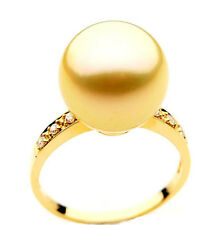 GR006 (AAA 11mm Australian Golden  South Sea Pearl Diamonds Ring 18k Gold)